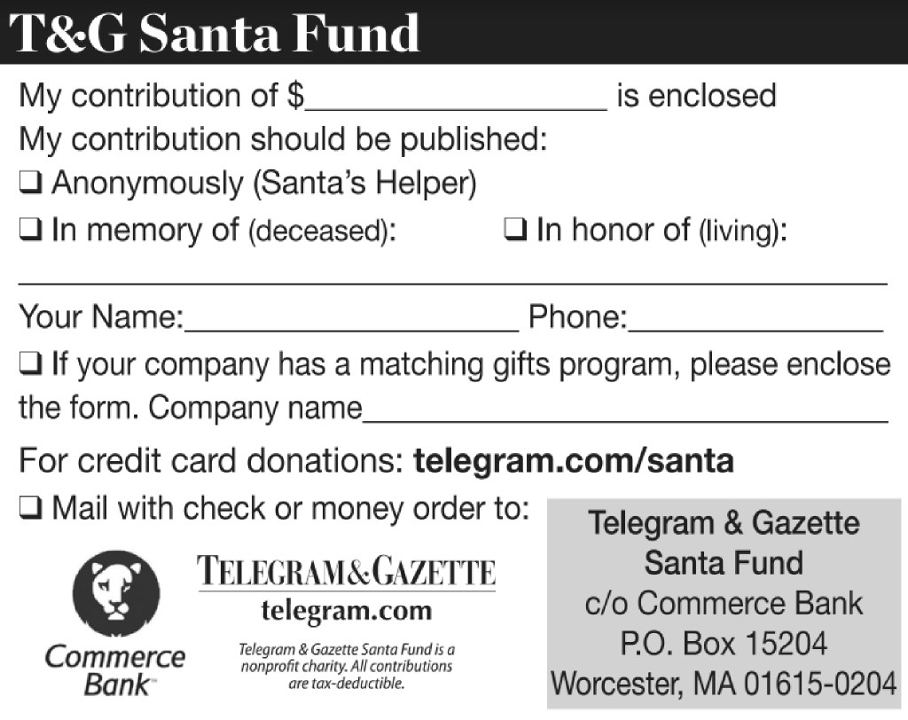 To donate to tg santa news telegram worcester ma wake up to the days top news delivered to your inbox spiritdancerdesigns Choice Image