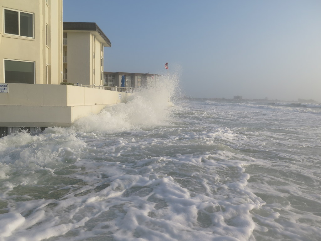 2536035 bytes; 4000 x 3000; Waves battered the seawall of the condominiums at 1900 Ben Franklin Drive on Lido during the storms