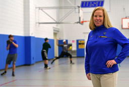 1004025 bytes; 3000 x 2040; WORCESTER - Worcester State athletic trainer Jessica Meany, in the gym during the first day of baseb